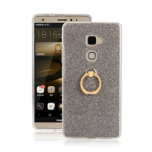 Skitic Cover per Huawei Mate S, Lusso Glitter Bling 360 Degree Rotating Metallo Anello Ring Stand Holder Custodia Morbido TPU Ultra Slim Bumper Back Protettiva Case per Huawei Mate S - Marrone