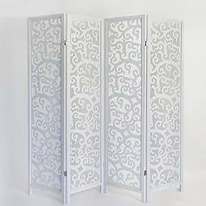 paravent arabesques en bois blanc de 4 pans dim h175 x. Black Bedroom Furniture Sets. Home Design Ideas