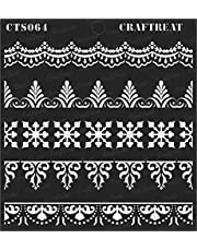 """CrafTreat Stencil - Ornate Borders   Reusable Painting Template for Art and Craft, Mixed Media, Wall Painting, Home Decor, DIY Albums, Card Making and Fabric Painting, 6""""X6"""""""
