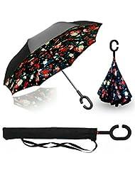 BP@ Manos en forma de C innovadora inversa Paraguas libre de la manija paraguas de doble capa a prueba de viento plegable para los hombres y las mujeres Mejor uso de los viajes y el coche - (106 cm) (color)