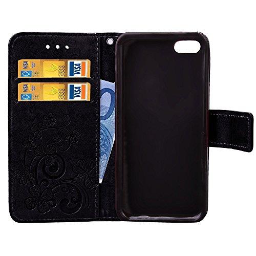 iPhone Case Cover Étui pour iPhone 5c, trèfle chanceux en relief, étui en cuir solide, rétro, étui en cuir PU avec étui à main, étui folio pour porte-monnaie pour iPhone 5c ( Color : Brown , Size : IP Black