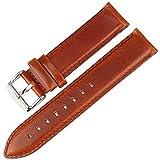 Uhrenarmband aus echtem Leder Braun mit Roségold-Verschluss Armband 16Mm-20Mm für DW Daniel Wellington-Uhrenarmband Hellbraun-Silber 20mm