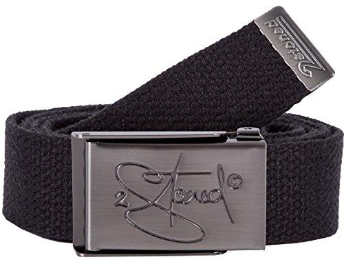 2Stoned Koppelgürtel Schmal Schwarz, matte Schnalle Classic, 3 cm breit, Stoffgürtel für Damen und Herren