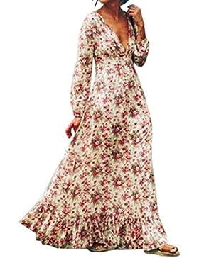 Zarupeng scollo a V piega abito Donna fiori stampa Vestito popolare Casual lungo Vestiti top