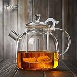 LINGZHIGAN Verdickte Teekanne Glas-Tee-Set Hitzebeständige Glas-Teekanne 1900ml Große Kapazitäts-Glas-Gesundheitstöpfe
