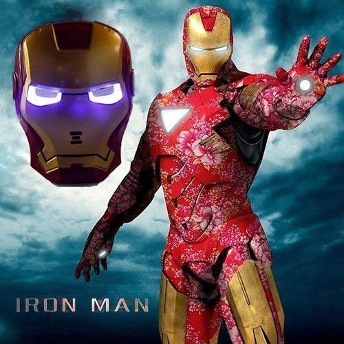 Preisvergleich Produktbild Kent Marks Maske für Halloween,  Party,  Cosplay,  leuchtende Iron Man-Maske mit blauen LED-Augen,  Halloween,  Make-up-Spielzeug für Kinder und Erwachsene