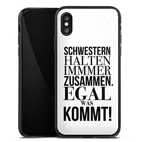 Apple iPhone X Silikon Hülle Case Schutzhülle Sprüche schwester Mädchen Silikon Case schwarz