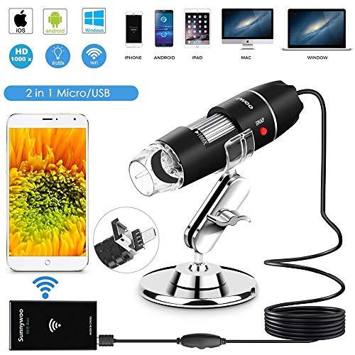 tablet 2 in 1 android TIANQING Microscopio USB WiFi Endoscopio Digitale 1000x 8 LED con Supporto Micro USB 2 in 1 per Smartphone Android
