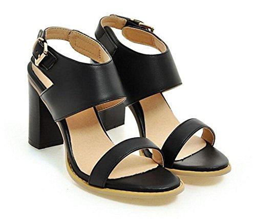 SHINIK Femmes boucle de la pompe avec ouvert à talons en forme de dame sandales hauts talons chaussures de cour Black