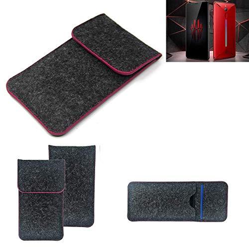 K-S-Trade® Filz Schutz Hülle Für -Nubia Red Magic Mars- Schutzhülle Filztasche Pouch Tasche Case Sleeve Handyhülle Filzhülle Dunkelgrau Rosa Rand