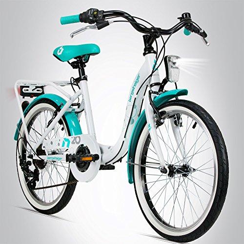 fahrraeder maedchen Bergsteiger Atlantis 20 Zoll Kinderfahrrad, geeignet für 6, 7, 8, 9 Jahre, StVZO, Shimano 6 Gang-Schaltung, Mädchen-Fahrrad mit Dynamo-Licht