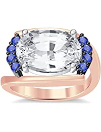 Silvernshine 4Ct Oval & Round Cut Sim Tanzanite Diamonds 18K Rose Gold Plated Engagement Ring