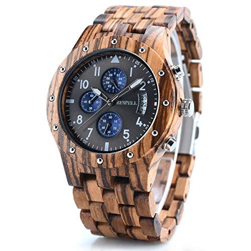 bewell orologi da polso in legno uomo orologio analogico a due toni multifunzione al quarzo braccialetto di modo w109d