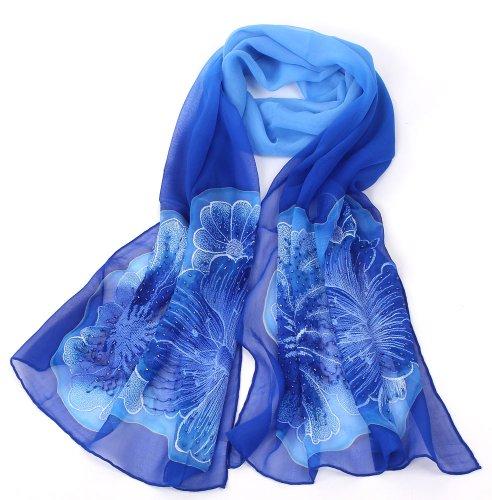 Orifashion Foulard Broderie en 100% soie Fashion Femme Couleur Dégradé, 180 x 50cm blue