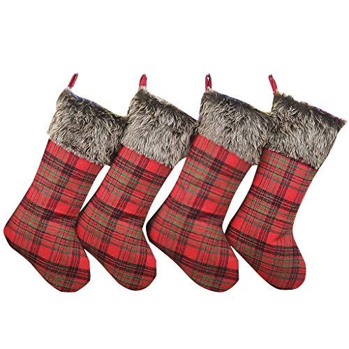 Feytuo Bag 4PC Beutel-Weihnachtsbaum-hängender Geschenk-Beutel-Weihnachtsplüsch-Socken