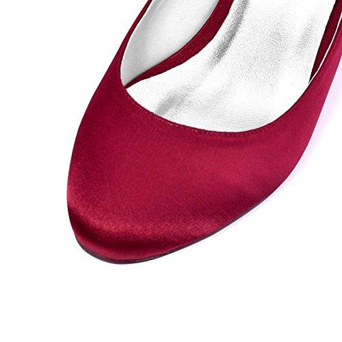 ElegantPark Femmes Fermé Toe Bloc Talon Mary Jane Pompes Satin Chaussures de Mariage Soirée Rouge sombre