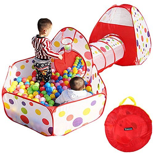 Yosoo Tenda Bambini 3 in 1 Tunnel da Gioco, Indoor / Outdoor Tunnel gioco e Play Tent,Tenda Giocattolo Tunnel Bambino Ball Pool