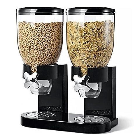 Kabalo Schwarz Getreidedoppelspender Maschine Frühstück Lebensmittel Vorratsbehälter Küche Snack