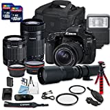 #7: Canon EOS 80D DSLR Camera Bundle with Canon EF-S 18-55mm f/3.5-5.6 is STM Lens + Canon EF-S 55-250mm f/4-5.6 is STM Lens + 500mm f/8 Preset Lens + 2 PC 32 GB Memory Card + Camera Case