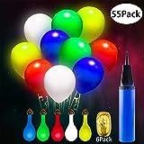 Eaiitty 55 Stück Leuchtende Luftballons mit Handpumpe und Farbigem Band,5 Farbe LED Luftballons mit Gemischte Farbe und Weiß Blinken Fur Hochzeit, Party, Weihnachten, Geburtstag Deko (Bunt)