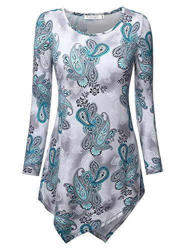BAISHENGGT Damen Tie-Dye Langarmshirt Asymmetrisch Hem Tunika Stretch Longshirts Gruen-Blumen S (Tie Damen Dye T-shirt Grüne)