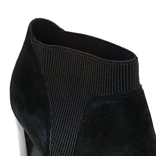 ALESYA by Scarpe&Scarpe - Bottines hautes avec double élastique, en Suède, à Talons 9 cm Noir