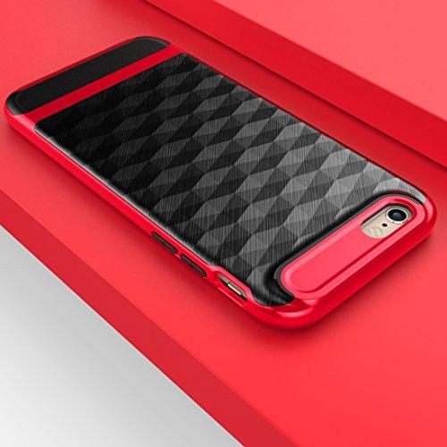 Wkae 3D Diamond PC + TPU Kombination Schutzhülle für iPhone 6s ( Color : Black ) Red