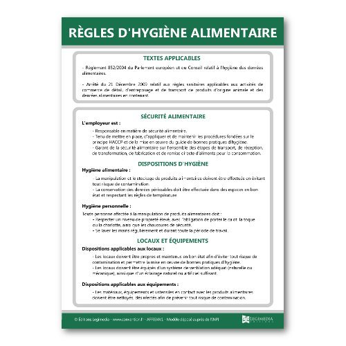 Panneau d'affichage des règles d'hygiène alimentaire