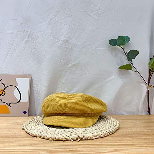 mlpnko Kinderhüte Jungen und Mädchen einfarbig Cord Baskenmütze Baby Short Cap Zeitung Hut gelb Code