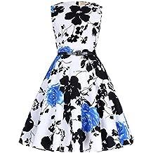 Kate Kasin® Vestido Vintage Estampado de Niñas Años 50 para Fiesta Cóctel Vestido Algodón de Verano sin Mangas con Cinturón