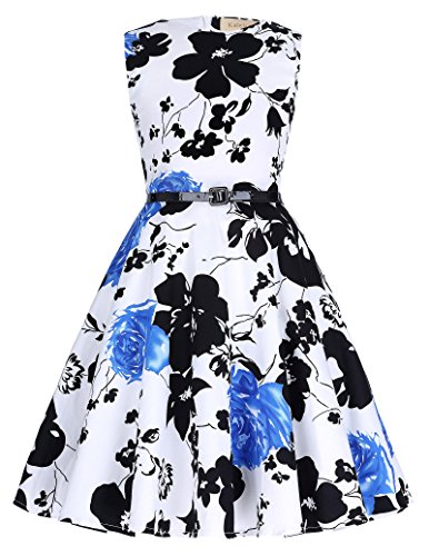 Retro 50er Kleid Partykleid swing Ballkleid 7-8 jahre KK250-10 (Jahre Schwarz 60er Leder)