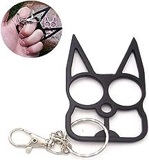Outdoor-Überlebens-Werkzeug Zwei-Finger-Buckle Auto Life Saving Hammer Cartoon-Katze Zwei-Finger-Schlüsselbund (schwarz)