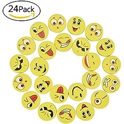 willingood 24piezas emoji Smiley borrador Set para niños como un regalo de cumpleaños y colores–Goma de borrar, diseño de caritas sonrientes juguetes y varios motivos