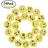 Willingood 24 Stück Emoji Smiley Radiergummi Set für Kinder als Geburtstagsgeschenk und bunte lustige Radiergummi,Smiley Spielzeug und verschiedene motive