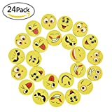 Willingood, 24 Stück Emoji Smiley Radiergummis für Kinder, als Geburtstagsgeschenk und Spielzeug , 24 Radierer, verschiedene Motive
