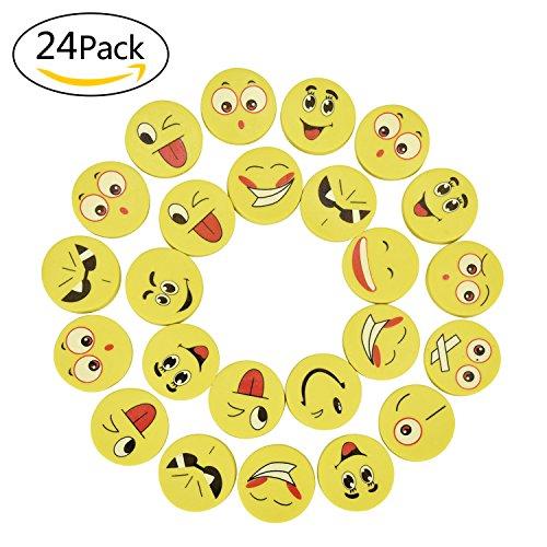 Willingood, 24 Stück Emoji Smiley Radiergummis für Kinder, als Geburtstagsgeschenk und Spielzeug ,...