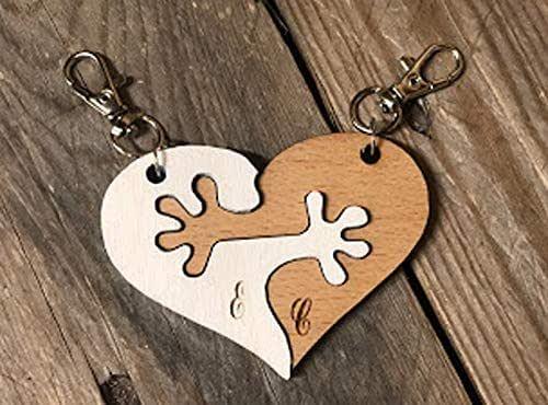 Portachiavi Abbracci, InciSo, In legno ad incastro 2 pezzi