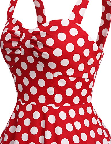 Dresstells Schultergurt 1950er Retro Schwingen Pinup Rockabilly Kleid Faltenrock Red White Dot L - 5