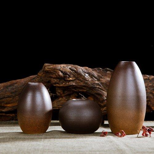 Keramische Vase dekorative Ornamente Blumen-Arrangement Kreative 3-Stück im japanischen Stil einfach home, schwarzer Sand drei Anzug (Sand Stück Anzug 3)