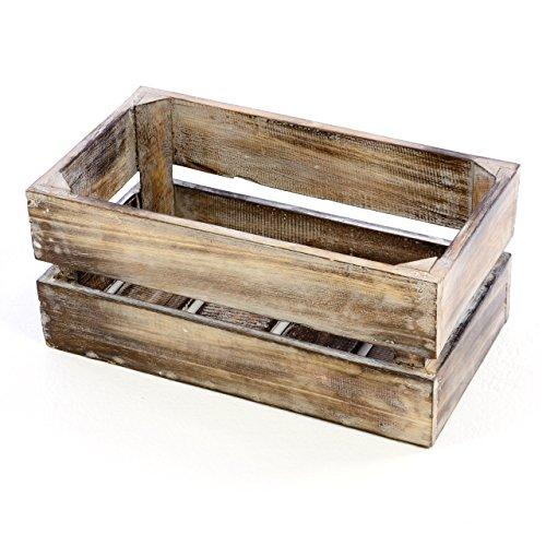 """Divero Vintage Holzkiste braun geflammt Staubox Weinkiste Obstkiste Größe """"S"""" 42 x 23cm/Höhe 17cm Stapelbox Spielzeugkiste Regal-Box"""