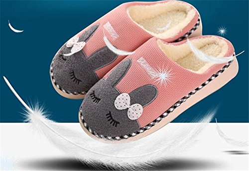 Minetom Coppia Pantofole Inverno Autunno Morbido Pantofole Coniglio Cartoon Scarpe Slippers per Donne Uomini Rosa