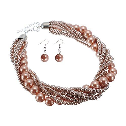 Jerollin Damen Kette Perlenkette Bead bib Choker Collier Collar Halskette Necklace Statement Ketten Ohrringen Ohrstecker Schmuck Set (Free Short Bib)
