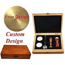 mnyr logotipo personalizado imagen cartas monograma mango de madera sellado sello de cera de fusión cuchara embotellada rojo perlas de cera Kit de madera caja de regalo juego