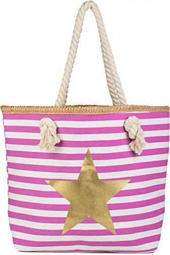 styleBREAKER borsone da spiaggia con motivo marinaresco a strisce, stampa a stella e chiusura con cerniera, borsa a tracolla, shopper, donna 02012069, colore:Rosa-Bianco / Oro Rosa-Bianco / Oro