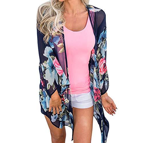 Amphia - Bedruckte Kimono-Cardigan-Strandbluse - Mode Frauen Chiffon Schal Print Kimono Cardigan Top Cover Up Bluse ()