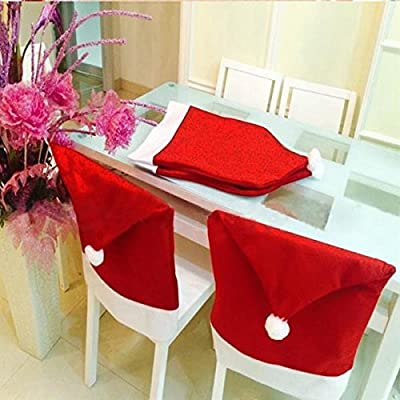 tinkertonk 4X Santa Claus Red Hat Chair Back Covers Christmas Dinner Table Party Decor Gift