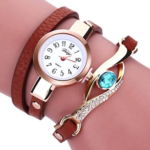LSAltd Damen Art und Weisediamant-Verpackung um Uhr Lederoid Quarz Armbanduhr (Braun) (Uhr Kostüme)