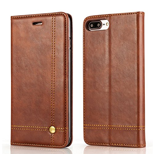 Leaf Apple iPhone 7 Plus Case, Flip Cover Royal Series Leather Case, Flip Cover for Apple iPhone 7 Plus Wallet Cases Book Cover Card Slot Money Pocket Stand Holder Magnet Closure Brown