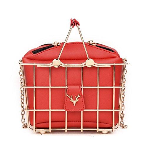 Divertente Borsa Donna Borsa Da Box Personalità Creativo Cesto Di Basket Spalla Borsa Del Messaggero Borsa Red