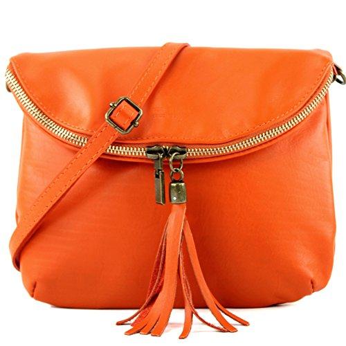 modamoda de - ital. Ledertasche Clutch Umhängetasche Unterarmtasche Klein Nappaleder T07 Orange
